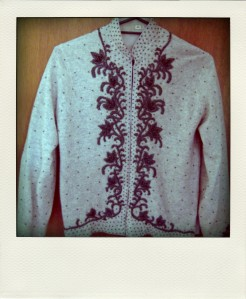 My mother's intricately beaded cardigan.