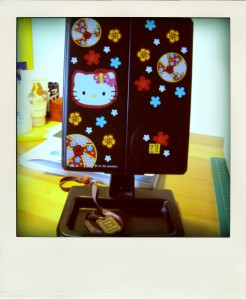 A Hello Kitty table mirror.