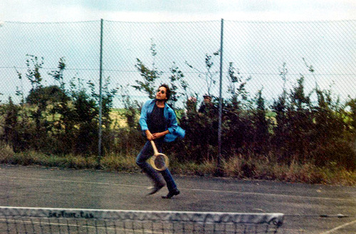 Bob Dylan playing tennis (1969)