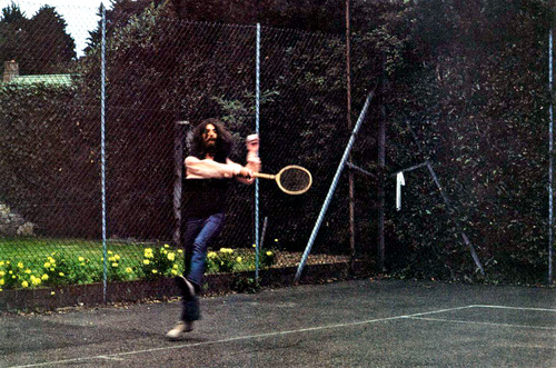 George Harrison and Bob Dylan playing tennis